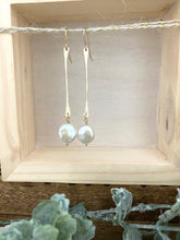 Load image into Gallery viewer, Stick and Circle -  White Coin Pearl Earrings on Gold Fill Sticks
