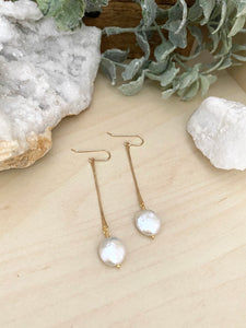 Stick and Circle -  White Coin Pearl Earrings on Gold Fill Sticks