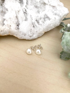 White Freshwater Pearl Studs on Sterling Silver Posts 6 mm
