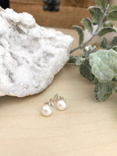 Load image into Gallery viewer, White Freshwater Pearl Studs on Sterling Silver Posts 6 mm