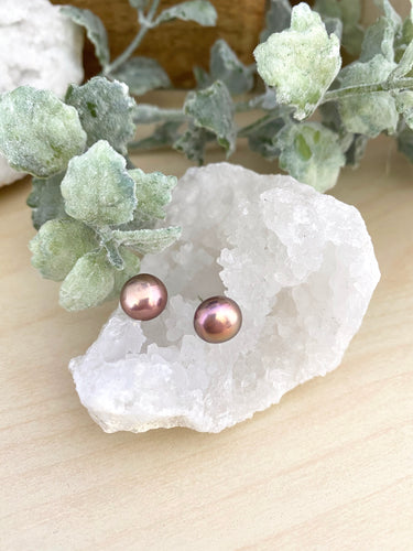 Metallic Mauve Pink Freshwater Pearl Earrings on Sterling Silver Posts