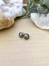Load image into Gallery viewer, Dark Purple Freshwater Pearl Earrings on Sterling Silver Posts