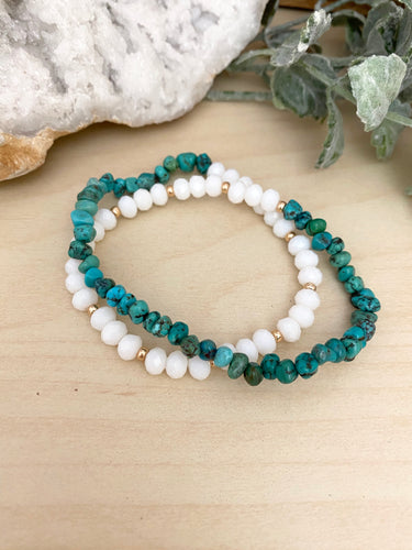 Turquoise Wrap Bracelet with White and Gold beads