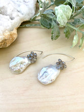 Load image into Gallery viewer, Baroque Freshwater Pearl and Labradorite Earrings on Sterling Silver Ear Wires