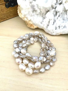 Freshwater Pearl and Moonstone Necklace with toggle clasp