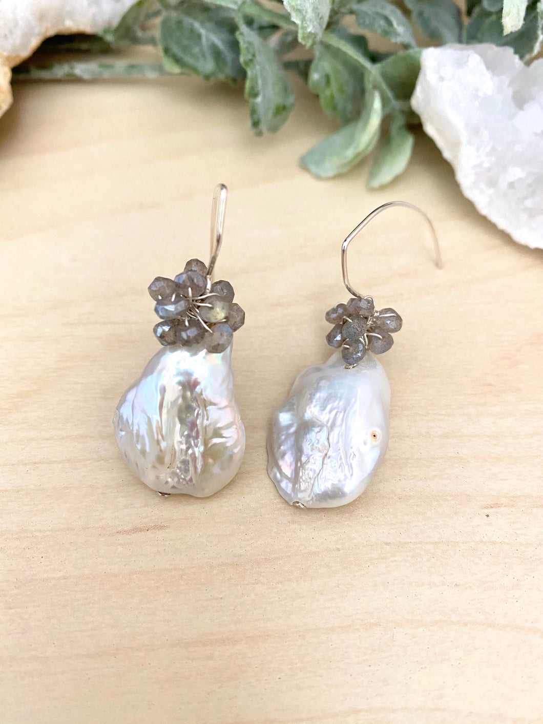 Baroque Freshwater Pearl and Labradorite Earrings on Sterling Silver Ear Wires