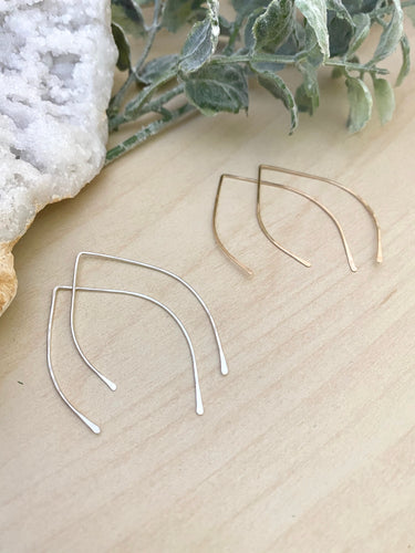 Marquise Open Hoop Earrings in Gold fill or Sterling Silver