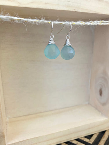 Aqua Blue Chalcedony Gemstone Drop Earrings - Sterling Silver