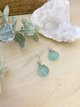 Load image into Gallery viewer, Aqua Blue Chalcedony Gemstone Drop Earrings - Sterling Silver