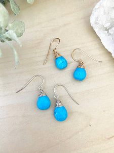 Turquoise Gemstone Drop Earrings - 14k Gold Fill or Sterling Silver