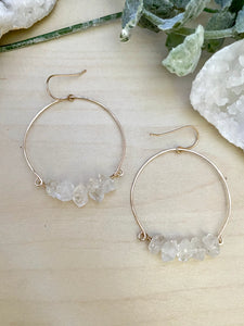 Herkimer Diamond Hoop Earrings - Gold Fill