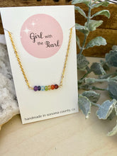 Load image into Gallery viewer, Rainbow bar necklace in gold by Girl with the Pearl