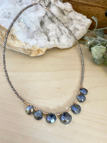 Talia Necklace - Short Beaded Necklace with Black Labradorite