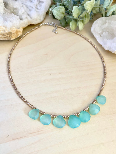 Talia Necklace - Short Beaded Necklace with Aqua Chalcedony