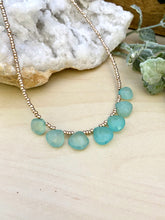 Load image into Gallery viewer, Talia Necklace - Short Beaded Necklace with Aqua Chalcedony