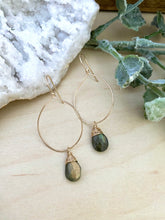 Load image into Gallery viewer, Hoop Earrings with Labradorite Drop - Gold fill or Sterling Silver