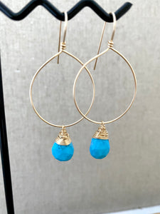 Hoop Earrings with Turquoise Drop - Gold fill or Sterling Silver