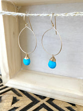 Load image into Gallery viewer, Hoop Earrings with Turquoise Drop - Gold fill or Sterling Silver