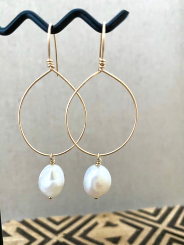 Hoop Earrings with White Freshwater pearl Drop - Gold fill or Sterling Silver