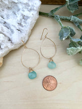 Load image into Gallery viewer, Gemstone Hoop Earrings with Aqua Blue Chalcedony Drop - Gold fill or Sterling Silver