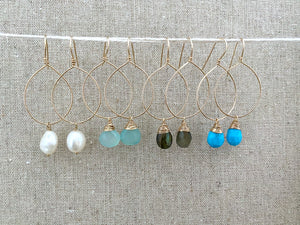 Gemstone Hoop Earrings with Aqua Blue Chalcedony Drop - Gold fill or Sterling Silver
