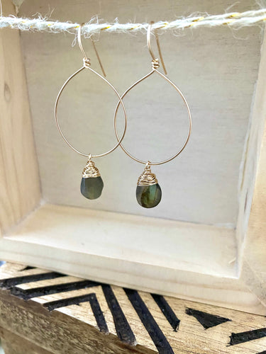 Hoop Earrings with Labradorite Drop - Gold fill or Sterling Silver
