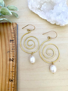 Spiral Earrings with Freshwater Pearl Drop