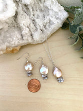 Load image into Gallery viewer, Pink and Grey Freshwater Coin Pearl Necklace and Earring Gift Set