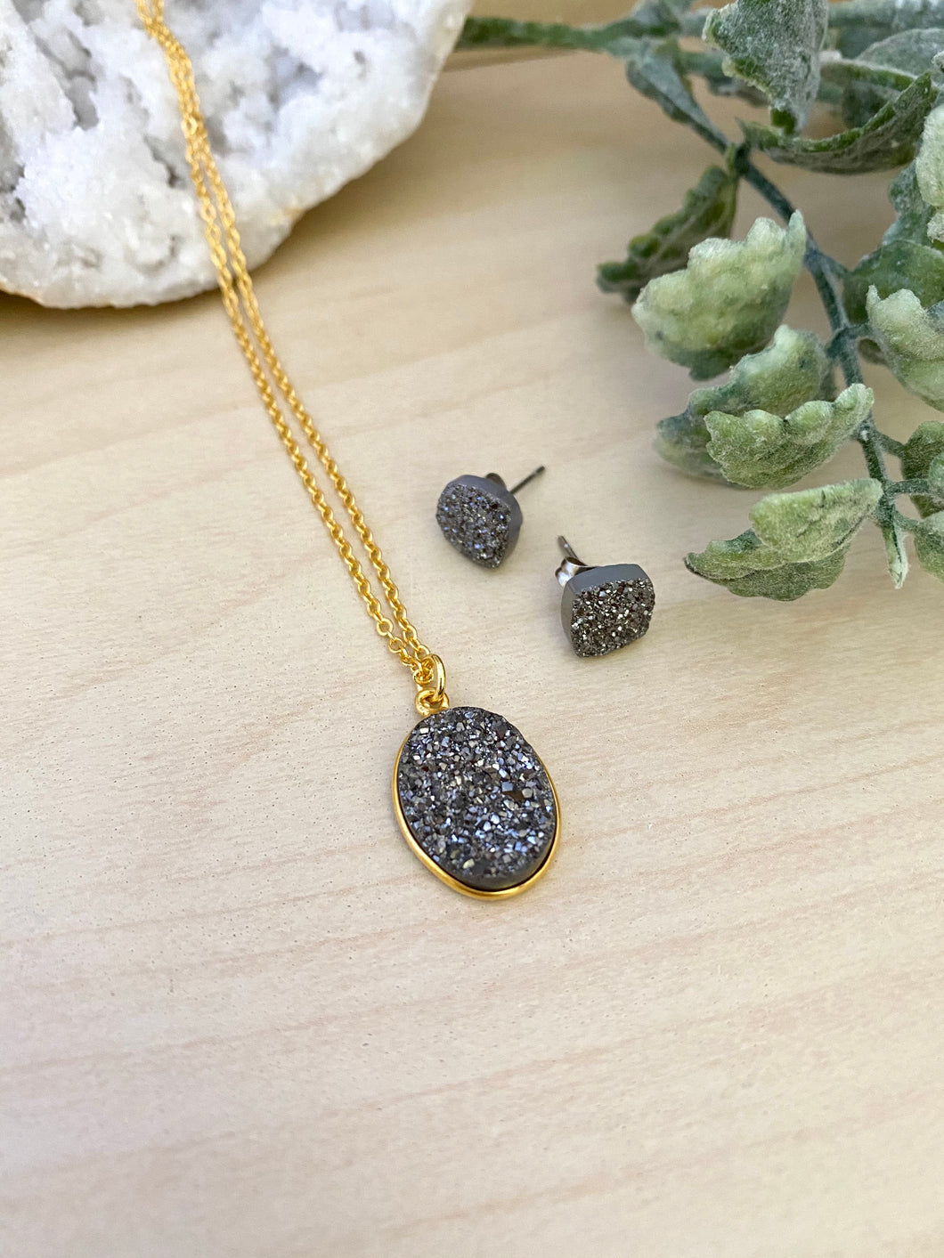 Gunmetal Druzy Necklace and Stud Earring Set