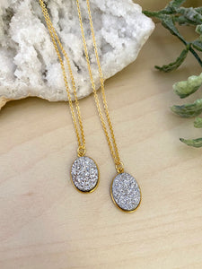 Silver Druzy Necklace - Gold Chain