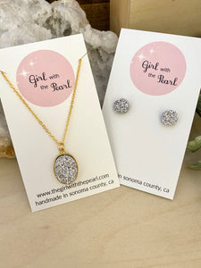 Silver Druzy Necklace and Stud Earring Gift Set