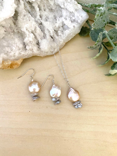 Pink and Grey Freshwater Coin Pearl Necklace and Earring Gift Set
