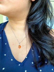 Carnelian Orange Gemstone Drop Necklace