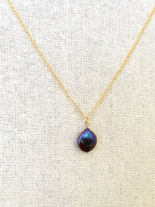 Dark Purple Single Coin Pearl Necklace