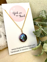 Load image into Gallery viewer, Dark Purple Single Coin Pearl Necklace