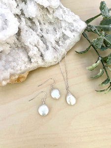 Freshwater Coin Pearl Necklace and Earring Gift Set in Sterling Silver