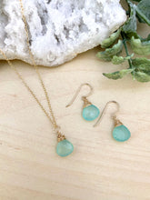 Load image into Gallery viewer, Aqua Chalcedony Necklace and Earring Gift Set in 14k Gold Fill