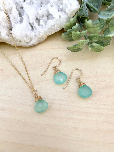 Aqua Chalcedony Necklace and Earring Gift Set in 14k Gold Fill