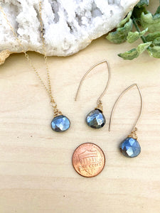Black Labradorite Necklace and Earring Set - 14k Gold Filled