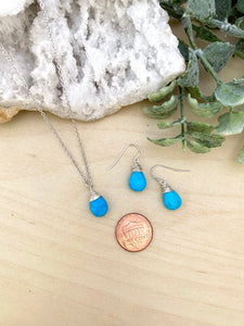 Turquoise Necklace and Earring Gift Set in Sterling Silver
