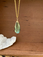 Load image into Gallery viewer, Unique Large Labradorite Gemstone Drop Necklace wire wrapped in Gold Filled Wire