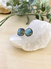 Load image into Gallery viewer, Labradorite studs on sterling silver posts - blue flash
