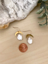 Load image into Gallery viewer, Pearl and gold crescent moon earrings - 14k gold filled ear wires