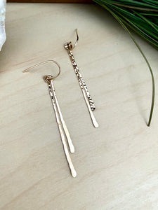 Hammered Sterling Silver or Gold Fill Dangling Vertical Bar Earrings
