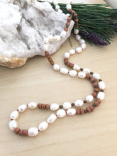 Load image into Gallery viewer, white freshwater pearl and wood necklace handknotted on red silk