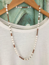 Load image into Gallery viewer, White freshwater pearl and wood necklace with brass accents