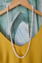 Load image into Gallery viewer, Hand knotted White Freshwater Pearl Necklace with toggle clasp