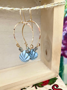 Boulder Opal and Labradorite Inverted Hoop earrings - Gold fill