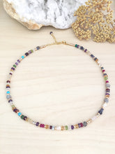 Load image into Gallery viewer, Colourful Confetti Choker - Mixed Gemstone Choker Necklace Adjustable 14 to 16 inches Bright pop of Color