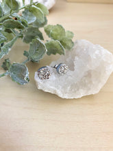 Load image into Gallery viewer, Silver Druzy stud earrings on surgical steel posts